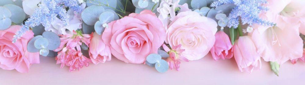 ブルー系の花のフレーム