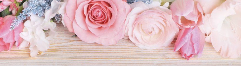 ピンク色のバラのフレーム画像