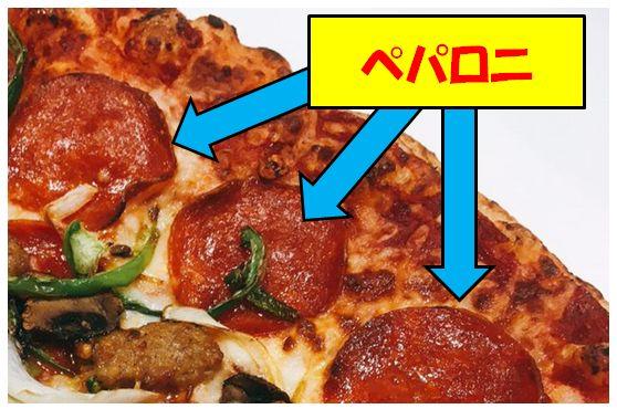 スライスピザのペパロニ
