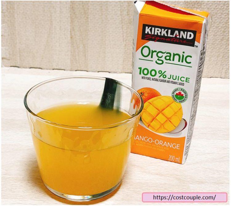 コストコのKS100%オーガニックジュースのマンゴーオレンジ